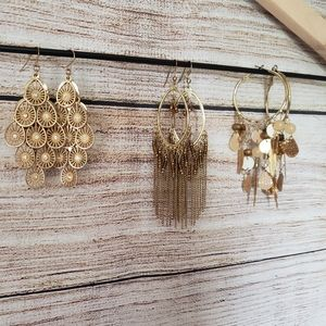 Set of 3 gold/bronze earrings.